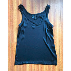 (New) Silky, Long MNG Black Sleeveless Top